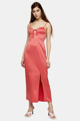 Topshop Womens Pink Bustier Midi Slip Dress - Pink