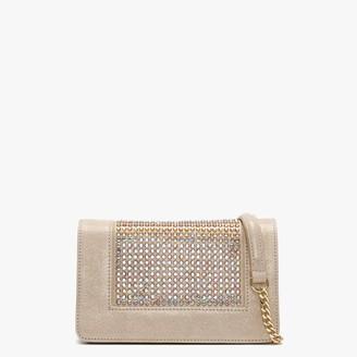 Daniel Pequetie Beige Suede Embellished Clutch Bag