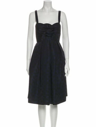 Oscar de la Renta Silk Midi Length Dress Purple