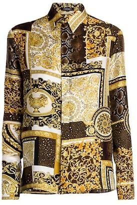 Versace Barocco Patchwork-Print Silk Shirt