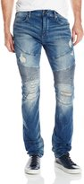 True Religion Men's Rocco Relaxed Skinny Distressed Moto Jean