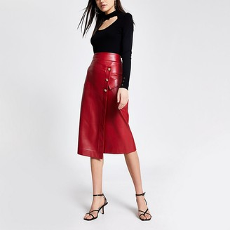 River Island Red faux leather wrap midi skirt