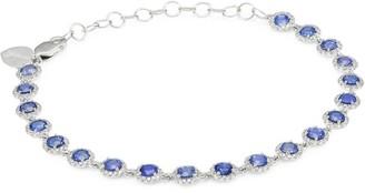 Meira T 14K White Gold, Blue Sapphire & Diamond Station Bracelet