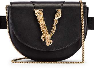 Versace Leather Tribute Belt Bag in Black & Gold | FWRD