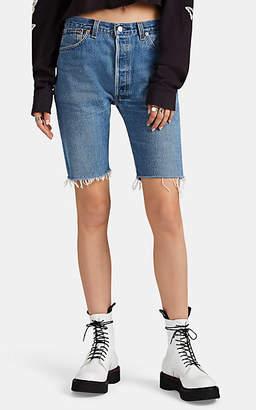 RE/DONE Women's Levi's® Denim Long Cutoff Shorts - Blue