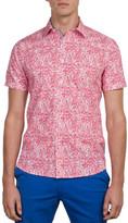 James Harper Short Sleeve Miller Floral Spray Print Slim Fit Shirt