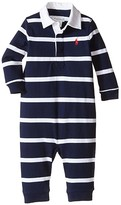 Polo Ralph Lauren YD Rugby Jersey Stripe Coveralls (Infant) (French Navy Multi) Boy's Overalls One Piece