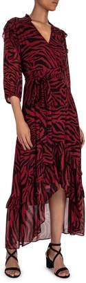 BA&SH Selena Zebra-Print Wrap Maxi Dress