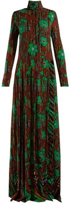 Prada Floral-print Roll-neck Gown - Womens - Green Multi