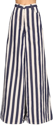 Sunnei Striped Cotton Blend Maxi Palazzo Pants