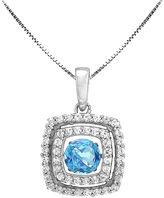 JCPenney FINE JEWELRY Love in Motion Genuine Blue Topaz and Lab-Created White Sapphire Cushion-Cut Pendant Necklace