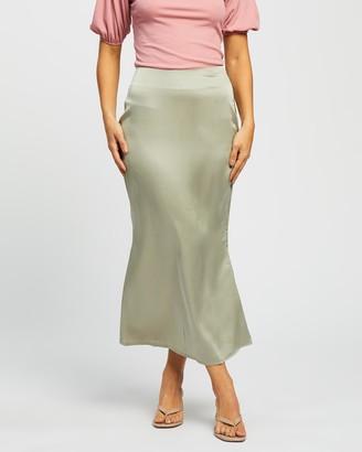 Missguided A-Line Satin Slip Midi Skirt