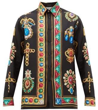 Versace Jewel-print Silk-satin Shirt - Mens - Black Multi