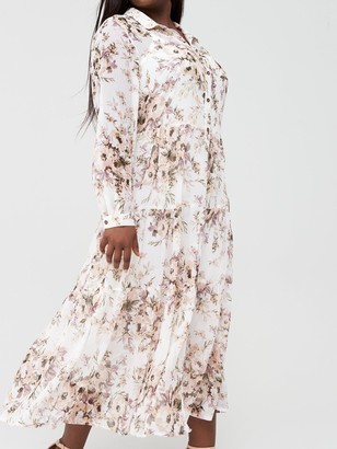 V By Very Curve Tiered Midi Shirt Dress - Cream/Floral