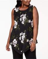 Alfani Plus Size Embroidered V-Hem Top, Created for Macy's
