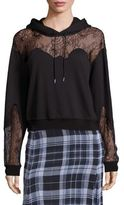 McQ by Alexander McQueen Lace Inset Hooded Sweatshirt