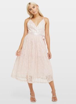 Miss Selfridge PETITE Pale Pink Lace Midi Dress