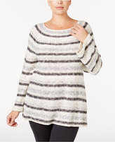 Style&Co. Style & Co. Plus Size Metallic Striped Sweater, Only at Macy's