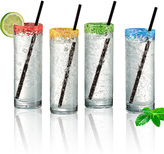 Artland Cooler Glass & Reusable Straw - Set of Four
