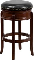 29'' Backless Cherry Wood Barstool with Black Leather Swivel Seat