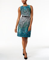 Connected Belted Printed Sheath Dress