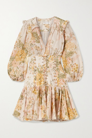 Zimmermann Amelie Lace-up Ruffled Floral-print Linen Mini Dress - Peach