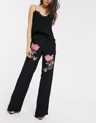 MACKINTOSH Mille rose embroidered wide leg pants