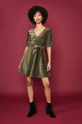 Coast Glitter Jersey Ruffle Tie Waist Dress