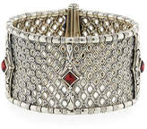 Konstantino Hestia Wide Bangle Bracelet w/ Rhodolite Garnet