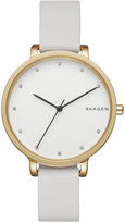 Skagen Women's White Leather Strap Watch 34mm SKW2578
