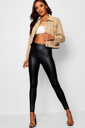 boohoo Wet Look Stretch Leggings