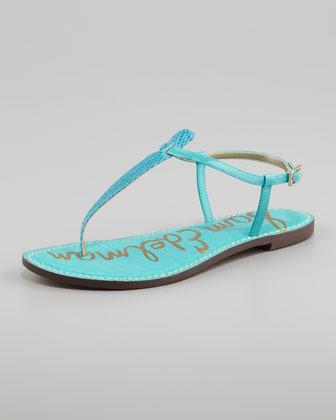 Sam Edelman Gigi Snake-Print Leather Sandal, Turquoise