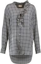 DKNY Ruffle-trimmed checked voile shirt