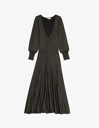 Sandro Aure bell-sleeve knitted lurex dress