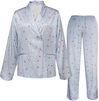 Not Just Pajama Love Printed Silk Pyjamas Set