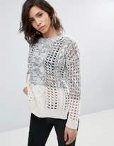Dex Cable Knit Color Block Sweater