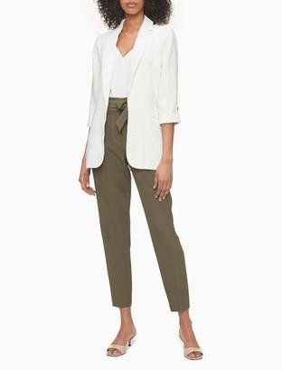 Calvin Klein Windowpane Lyocell Open Front Roll-Sleeve Jacket