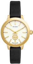 Tory Burch Collins Black Leather Two-Hand Watch