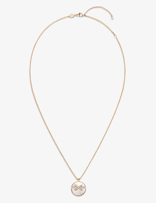 Chaumet Jeux de Liens Harmony 18ct rose-gold, 0.09ct diamond and mother-of-pearl pendant necklace