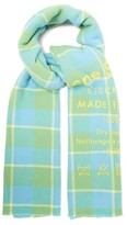 Acne Studios Cassiar Logo-print Wool Scarf - Womens - Light Green
