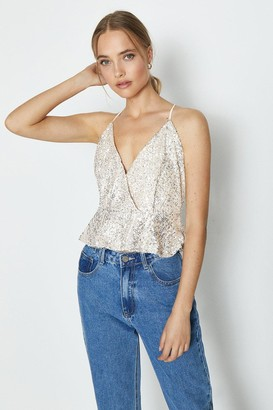 Coast Strappy Sequin Peplum Cami