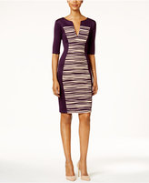 Connected Petite Textured-Panel Sheath Dress
