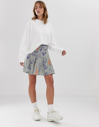 Weekday printed mini skirt in green