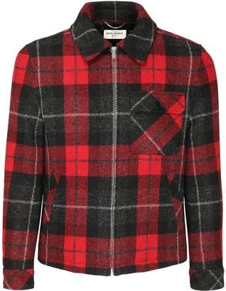 Saint Laurent Check Wool Casual Jacket