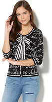 New York & Co. 7th Avenue - Crewneck Chelsea Cardigan - Script Print