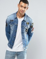 Replay Denim Trucker Jacket with Badges