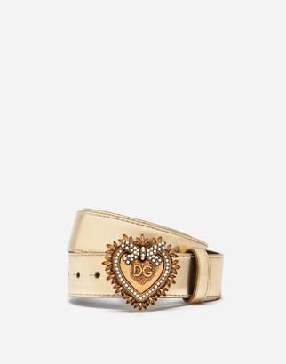 Dolce & Gabbana Devotion Belt In Laminated Calfskin