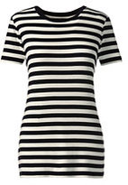 Lands' End Women's Petite Shaped Cotton Crewneck T-shirt-Classic Navy/White Stripe