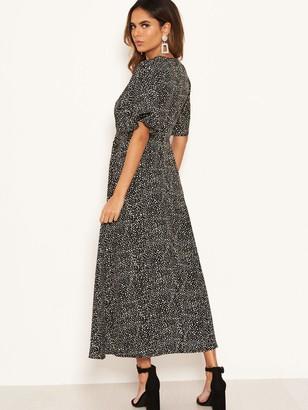 AX Paris Spotty Knot Front Midi Dress - Black