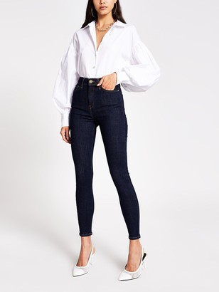 River Island Hailey Super High Waist Skinny Jeans - Raw